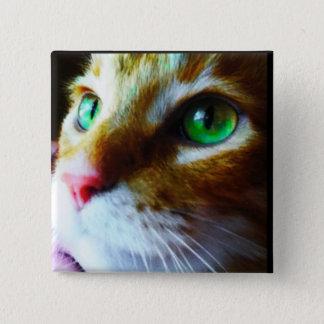 Badge Carré 5 Cm Bouton mignon de carré de chat de yeux de disco