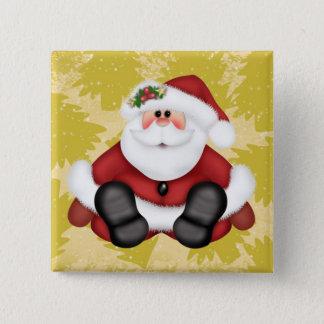 Badge Carré 5 Cm Bouton mignon du père noël avec des arbres de Noël