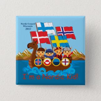 Badge Carré 5 Cm Bouton nordique 2017 d'enfant