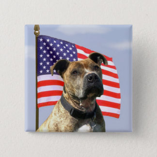 Badge Carré 5 Cm Bouton patriotique de pitbull