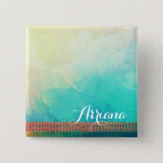 Badge Carré 5 Cm Bouton personnalisé de Pin de clôture d'aquarelle