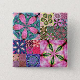 Badge Carré 5 Cm bouton rose de kaléidoscope