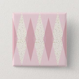 Badge Carré 5 Cm Bouton rose moderne de carré de Jacquard de la