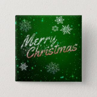 Badge Carré 5 Cm Bouton vert de fête de carré de Joyeux Noël