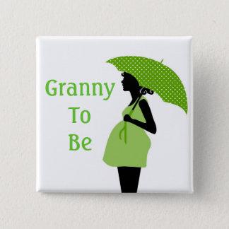 Badge Carré 5 Cm Bouton vert de grand-mère
