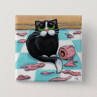Badge Carré 5 Cm Bouton vilain de chat