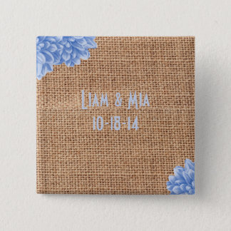 Badge Carré 5 Cm Boutons rustiques de dahlia de toile de jute