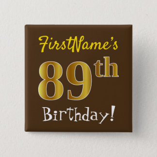 Badge Carré 5 Cm Brown, anniversaire d'or de Faux
