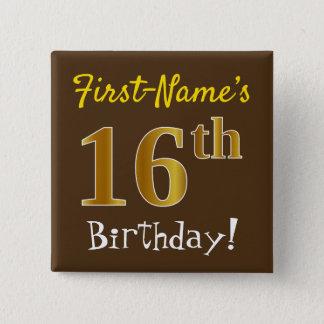 Badge Carré 5 Cm Brown, anniversaire d'or de Faux 16ème, avec le