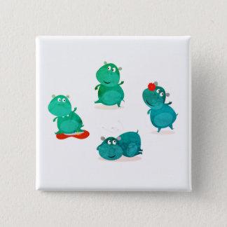 Badge Carré 5 Cm Carré mignon de danse de conception d'hippopotame