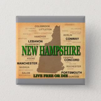 Badge Carré 5 Cm Carte de cru du New Hampshire