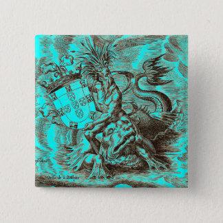 Badge Carré 5 Cm Carte du monde de dauphin d'équitation de Poseidon