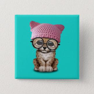 Badge Carré 5 Cm Casquette de port de chat de CUB de guépard mignon