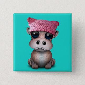 Badge Carré 5 Cm Casquette de port de chat d'hippopotame mignon de