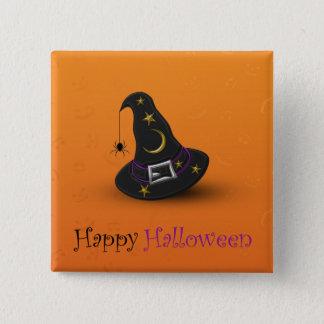 Badge Carré 5 Cm Casquette de sorcière de Halloween avec l'araignée