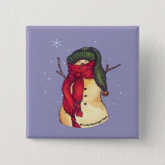Badge Carré 5 Cm Casquette vert de bonhomme de neige