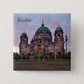 Badge Carré 5 Cm Cathédrale de Berlin avec la tour et le Lustgar de