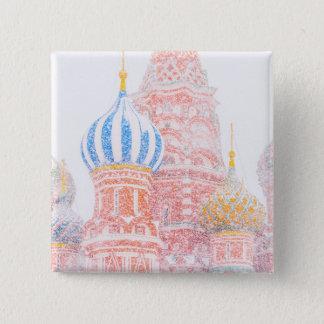 Badge Carré 5 Cm Cathédrale de St Basil dans la tempête de neige