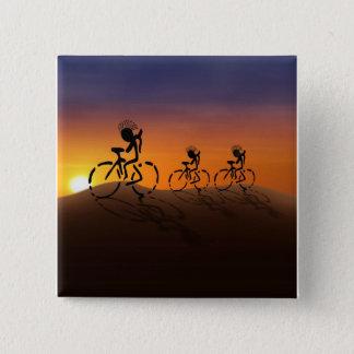 Badge Carré 5 Cm Cavaliers de coucher du soleil