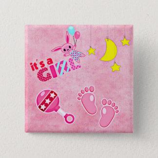 Badge Carré 5 Cm C'est un baby shower des jouets | de rose de fille