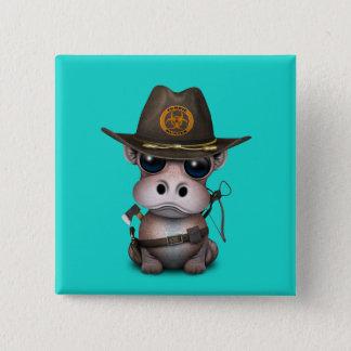 Badge Carré 5 Cm Chasseur de zombi d'hippopotame de bébé