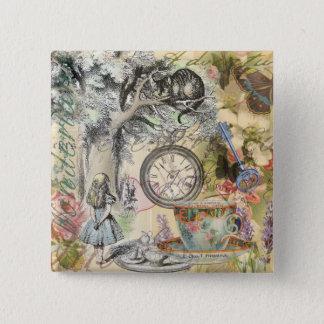 Badge Carré 5 Cm Chat Alice de Cheshire au pays des merveilles