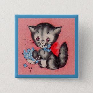 Badge Carré 5 Cm chat doux de minou