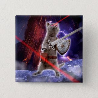 Badge Carré 5 Cm chats de guerrier - chat de chevalier - laser de