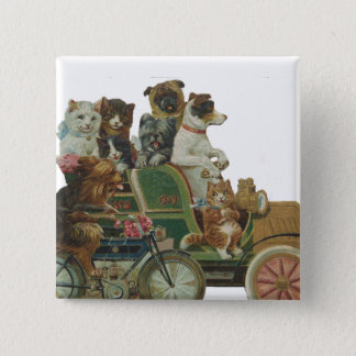 Badge Carré 5 Cm Chats et chiens de Louis Wain dans la voiture