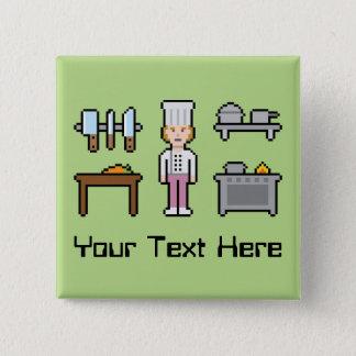 Badge Carré 5 Cm Chef fait sur commande de femelle de pixel