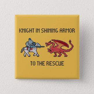 Badge Carré 5 Cm Chevalier de pixel CONTRE le bouton de dragon