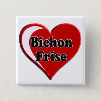 Badge Carré 5 Cm Chien de Bichon Frise sur le coeur pour des