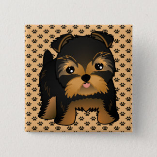 Badge Carré 5 Cm Chiot mignon de Kawaii Yorkshire Terrier