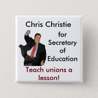 Badge Carré 5 Cm Chris Christie pour le secrétaire de l'éducation