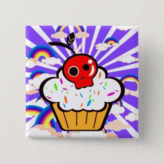Badge Carré 5 Cm Ciel d'arc-en-ciel de petit gâteau de cerise de