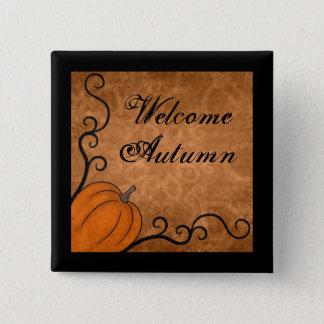 Badge Carré 5 Cm Citrouille d'automne bienvenu avec des remous