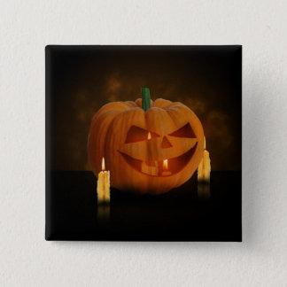 Badge Carré 5 Cm Citrouille de Halloween avec des bougies - bouton