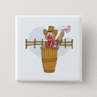 Badge Carré 5 Cm Clown de rodéo