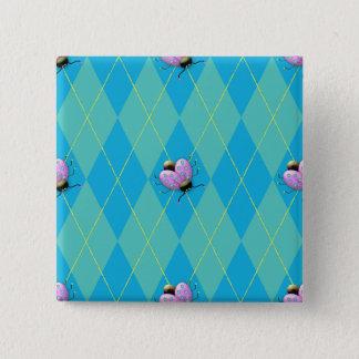 Badge Carré 5 Cm Coccinelle de Jacquard de bleu et d'Aqua