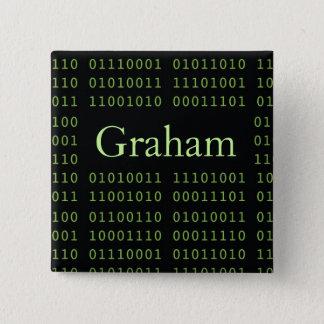 Badge Carré 5 Cm Code binaire personnalisé