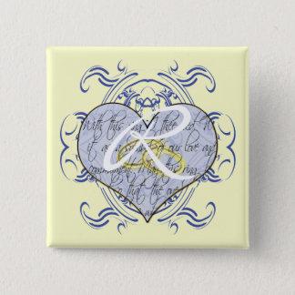 Badge Carré 5 Cm Coeur de voeu de mariage de monogramme