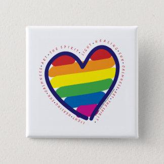 Badge Carré 5 Cm Coeur d'esprit de gay pride