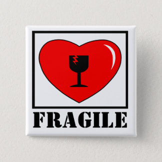 Badge Carré 5 Cm coeur fragile