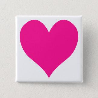 Badge Carré 5 Cm Coeur rose-foncé mignon