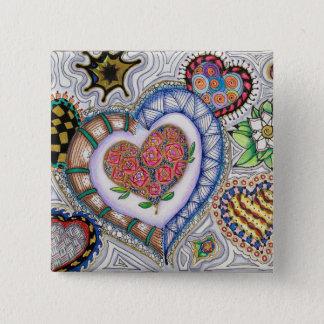 Badge Carré 5 Cm Coeurs et fleurs (goupille de 2 pouces)
