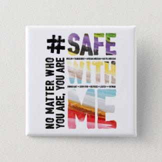 Badge Carré 5 Cm Coffre-fort avec moi bouton carré d'aquarelle
