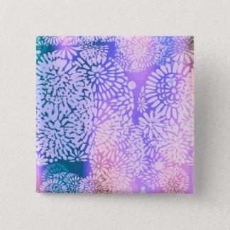 Badge Carré 5 Cm Conception abstraite de flower power de pourpre