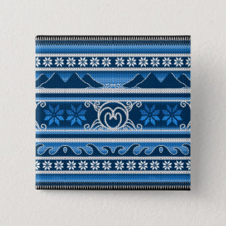 Badge Carré 5 Cm Conception nordique bleue d'hiver