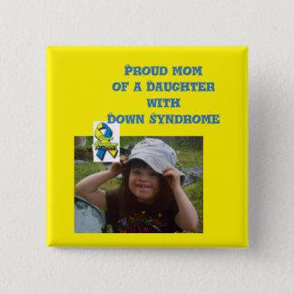 Badge Carré 5 Cm conscience de syndrome de Down