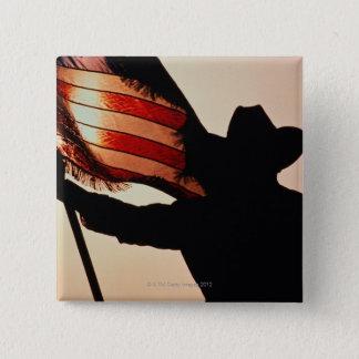 Badge Carré 5 Cm Cowboy tenant la bannière étoilée, silhouette,